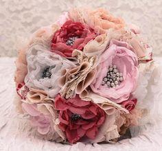 SOLD Customer Order Rustic Fabric Wedding Bouquet by RenesFabLab, $350.00