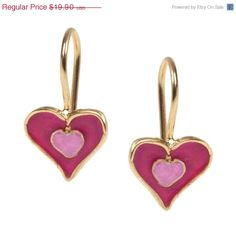 MOTHERS DAY SALE 15%- 14K Gold Filled dangling Hearts girls Earrings inlaid with colorful Enamel 14K Gold plated Heart danle Earrings inlaid
