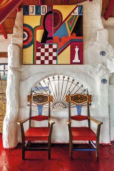 Casapueblo, Uruguay : Carlos Paez Vilaro, hôtel, salon.