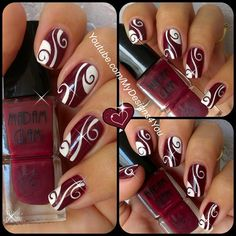"Abstract Nail Art | Burgundy Madam Glam Nails. Get your 30% OFF these fantastic Vegan, 5 free, Cruelty-free polishes by MadamGlam here: http://madamglam.com/?utm_source=yt-LiudmilaZ USE COUPON CODE ""LiudmilaZ30"""