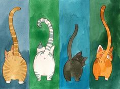 Funny cats illustration - Cats' butts - cute cats with long tails