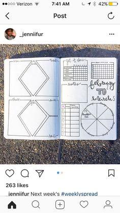 Creative Organization: Bullet Journal Weekly Spread with Trackers   Bujo weeklies   planner layout ideas   Journal inspiration #bujoinspire #bulletjournalweeklies