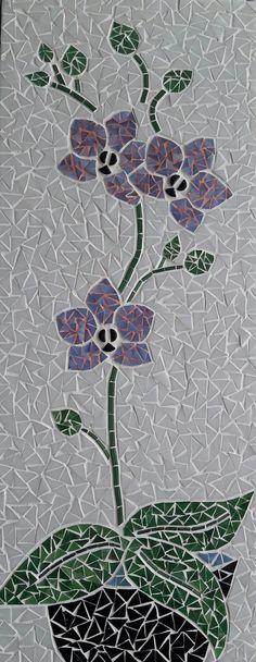 Tableau sur commande 20 x 50 cm Pâtes de verre, tiges de verre, joint rose et blanc