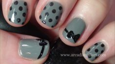 Very easy polka dots and bow nails, my most popular design on Youtube - http://youtu.be/4VAhZEpQsv8 #nailart   #arcadianailart #shortnails