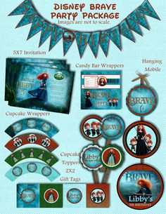 PRINTABLE Disney's Brave Princess Merida Birthday Decorations Party Package Invitation Included - Customized with your party details.. $20.00, via Etsy.