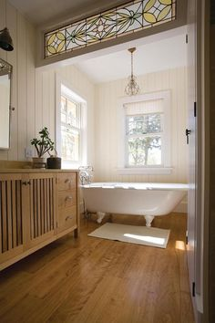 Pretty Bathroom - Love the stained glass!