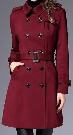 Belted Trench Coat, Wine Red