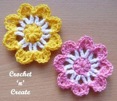 Free flower applique crochet pattern, you can attach to most projects like bags, blankets, clothing etc. CLICK and scroll down page for pattern. Crochet Car, Crochet Puff Flower, Crochet Flower Patterns, Flower Applique, Crochet Flowers, Knitting Patterns, Crochet Beanie, Stitch Crochet, Crochet Motif