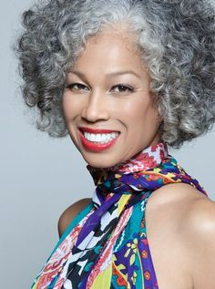 Teruko Burrell. Natural, gray hair. Beautiful.