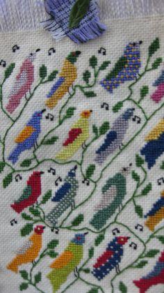 detail, cross stitch bird panel, L. Ramke