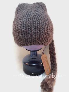 Brown pixie hat with long tassel tail, hand knit baby elf hat, brown baby hat, cute baby hat, photo prop, baby shower gift, baby accessory