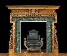 Antique English Georgian Rococo manner Pine Fireplace Mantel