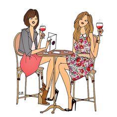 Cocktail Girl Illustration Art   ~Angeline Melin