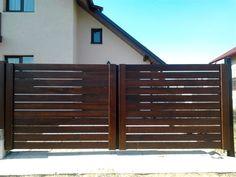 gard-lemn-maro Metal Gates, Design Case, Garage Doors, Outdoor Decor, Modern, Fences, House, Home Decor, Walls