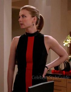 Seen on Celebrity Style Guide: Revenge Style & Fashion: Emily Van Camp, as Emily Thorne, wore this black with red stripe high neck dress on Revenge Season 3 Episode 'Payback'  Get It Here: http://rstyle.me/n/gj7inmxbn