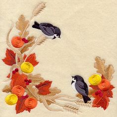 Autumn Chickadees Square design (A9218) from www.Emblibrary.com