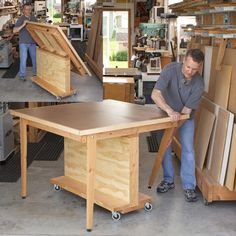 Fold-Flat 3-in-1 Workbench. It's a sturdy workbench, a dead-flat 4'-square assembly table, and it can even serve as a tablesaw outfeed support.