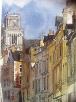 Watercolor Art Print CATHEDRAL POTERNE Pierre Deux Country French Style FRANCE