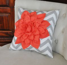 Coral Dahlia on Gray and White Zigzag Pillow Chevron by bedbuggs.  Love the color