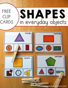 Free shape clip cards that will help kids see shapes in everyday objects.