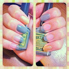 Grey; Gold; Simple; Nail Art