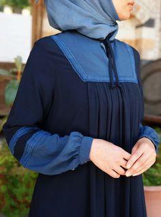 Lace Contrast Abaya - Abayas - Women Hijab Casual, Casual Work Outfits, Afghani Clothes, Hijab Style Dress, Modele Hijab, Pakistani Formal Dresses, Muslim Women Fashion, Hijab Fashionista, Designer Evening Gowns