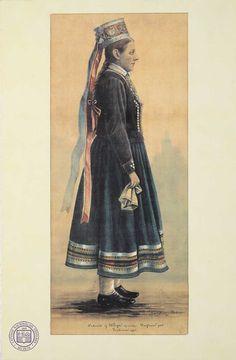 19. gs. otrās puses līgavas tērps Liepājas apriņķa Virgas pagastā. Jāņa Krēsliņa zīmējums. 1895. gads. LNVM krājums.