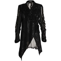 ANN DEMEULEMEESTER Mesh and Floral Velvet Jacket (1,725 CAD) ❤ liked on Polyvore featuring outerwear, jackets, flower print jacket, long sleeve jacket, floral jacket, asymmetrical jacket and striped jacket