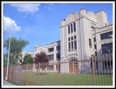 This gray limestone, neo-Gothic structure was once Highland Park High School. The architect of the building was Wells Butterfield, whose daughter Emily was the first licensed female architect in the state of Michigan. Mr. Butterfield also served as the first mayor of the City of Farmington, Michigan. He also designed several Methodist churches across the state of Michigan in the late 1800s.