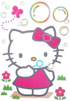 Hello Kitty blowing bubbles