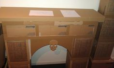 """Use cardboard to create template for faux fireplace. """"Measure twice. Cut once."""" Repin: fake fireplace from cardboard boxes"""