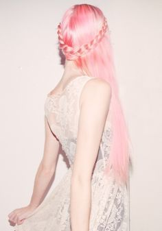 Pink pixie pastel princess braided hair.