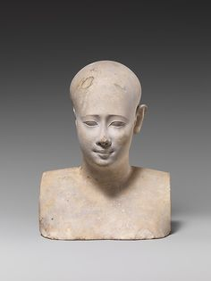 Bust of a bald or shaven man Period: Late Period–Ptolemaic Period Date: 400–200 B.C. Geography: From Egypt Medium: Limestone