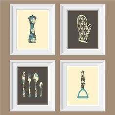 SALE  Kitchen collection wall artkitchen by BlackPelican on Etsy