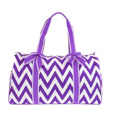 Personalized Purple Chevron Quilted Duffle by EmbroideryByLindaP, $37.50