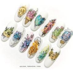 Nail Tip Designs, Nail Art Designs Videos, Nail Art Videos, Nail Swag, Nail Art Wheel, Nagel Bling, Nail Drawing, Water Color Nails, Work Nails