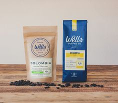 Packaging and branding system for Wells Coffee Co out of Boca Raton Florida.