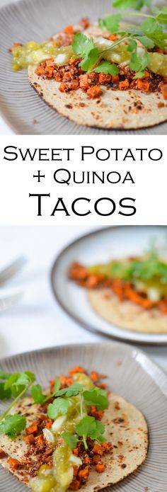 Roasted Sweet Potato + Quinoa Tacos for a delicious and easy weeknight meal. Perfect for vegan and vegetarian diets, but delicious enough for everyone!