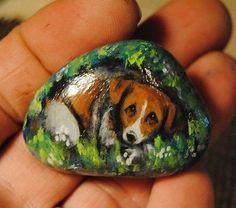 Original Painting Jack Russell Terrier Dog Miniature Hand Painted Rock Pebble | eBay