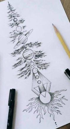 Tattoos with nature and planets - - art - Tattoo Designs - Tatoo Ideen Natur Tattoos, Kunst Tattoos, Bild Tattoos, Body Art Tattoos, Forearm Tattoos, Tattoo Design Drawings, Mandala Tattoo Design, Tattoo Sketches, Geometric Tattoo Drawings