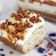 Caramel-drizzled carrot poke cake with sweetened condensed milk is amazing!