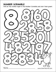Number scramble activity worksheet for number 8 for preschool children Preschool Number Worksheets, Numbers Kindergarten, Numbers Preschool, Learning Numbers, Math Numbers, Kindergarten Worksheets, Math Activities, Preschool Activities, Alphabet Letter Crafts