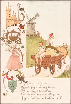 Images for the nursery by Ottilia Adelborg. Made in the 19th century. Rimes and songs in Swedish.