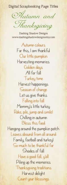 Scrapbook Page Title Ideas - Autumn and Thanksgiving by wendy.grieshaber