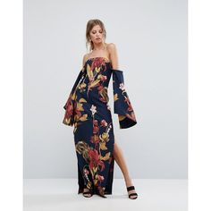 C/Meo Collective Fusion Printed Maxi Dress ($419) ❤ liked on Polyvore featuring dresses, navy, off-the-shoulder maxi dress, floral print maxi dress, navy blue dress, print maxi dress and navy maxi dresses