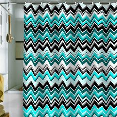 Madart Inc. Turquoise Black White Chevron Shower Curtain
