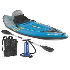 The Sevylor Quikpak 1 Person Inflatable Kayak is the perfect inflatable grab and go kayak. The grab and go kayak. Includes paddle and dual action hand pump. Made of thick, durable PVC. Best Fishing Kayak, Fishing Tips, Bass Fishing, Kayak Cart, Kayak Camping, Saltwater Fishing, Fishing Tackle, Fishing Boats, Compact