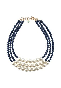 #PerfectlyPreppy and #nautical , the Classic Caroline necklace is a three-stranded #statement of sophistication meeting simplicity! #SwellCaroline #Pearls #Preppy