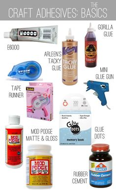 Different adhesives & what they work best on. I LOVE Arleen's Tacky Glue and I heard Mod Podge works well too. Cute Crafts, Creative Crafts, Crafts To Make, Diy Crafts, Wood Crafts, Decor Crafts, Crafty Craft, Crafty Projects, Diy Projects To Try
