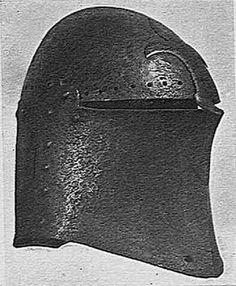 Medieval helmet which looks like a cross between a heaume (great helm) and a Stechhelm (tournament helmet).